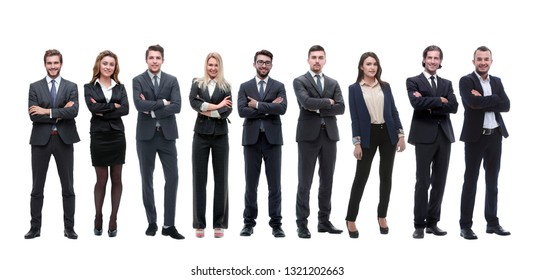 group of young successful entrepreneurs standing in a row