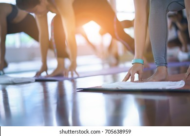 Group Young woman doing yoga and stretching exercises in the Studio.