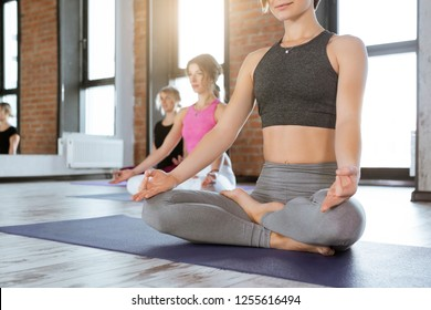Group of young women sitting and meditating in lotus pose, Ardha padmasana, yoga lesson concept close-up