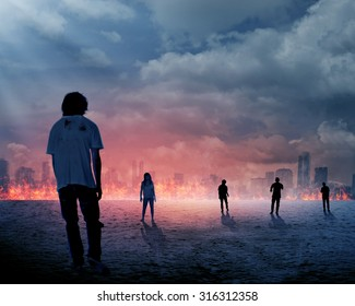 Group of zombie over burn city background. Halloween concept