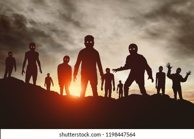 Group of zombies silhouette