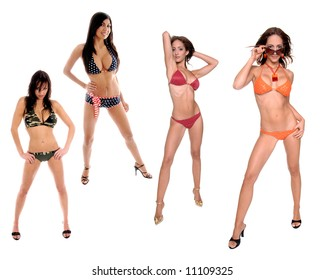 Grouping of 4 full body isolated bikini clad girls