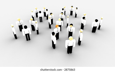 groups of iconographic business persons in talk