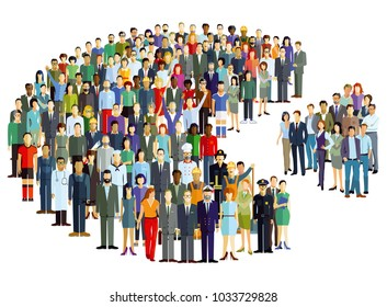 Groups of people statistics, crowd community, Illustration