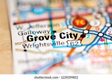 Grove City. Ohio. USA on a geography map