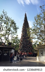 The Grove, Los Angeles, California, USA, November 20, 2018: christmas tree at the Grove