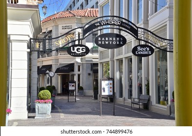 The Grove shopping mall in Los Angeles California, designer avenue. October 2017