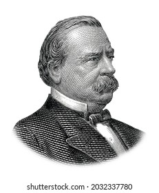 Grover Cleveland Portrait Isolated on White Background
