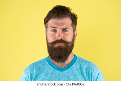 Grow mustache. Growing and maintaining moustache. Man bearded hipster with mustache. Beard and mustache grooming guide. Hipster handsome bearded attractive guy yellow background. Barber shop concept.