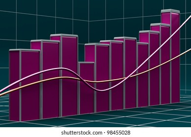 Growing bar chart from color blocks on white background