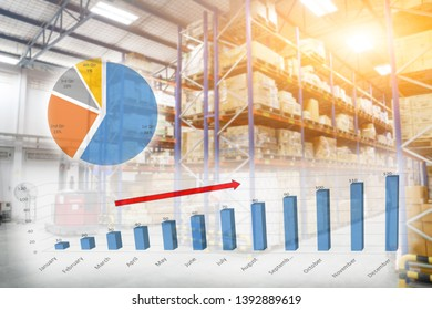 Growing bar graph with Blur Warehouse inventory product stock for logistic background, Long shelves with a variety of boxes (Lights background)