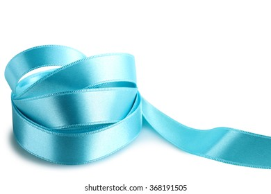 Growing blue ribbon on a white isolated background.Design element