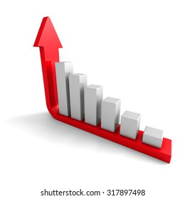 Growing Business Graph With Rising Arrow. 3d Render Illustration