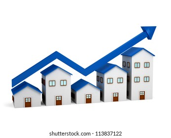 Growing chart over houses. 3d renedered image