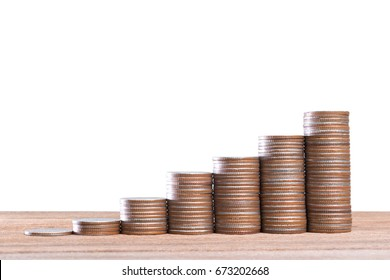 Growing coins stacks on wood , Coins to stack growing for business growth and financial concept