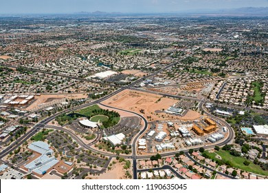 Growing Gilbert, Arizona viewed from above looking from the SE to the NW