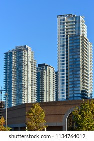 GROWING NEW BURNABY - AUGUST 27, 2017: Large neighbor of Metro Vancouver, Burnaby are growing. Picture was taken close to Metrotown. British Columbia, Canada