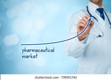 Growing pharmaceutical market concept. Businessman draw increasing graph illustrating growing pharma market.