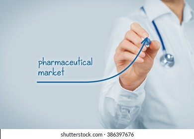 Growing pharmaceutical market concept. Doctor (medical practitioner) draw increasing graph illustrating growing pharma market.