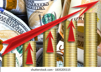 Growing piles of golden coins. Growing business concept. One hundred us dollar bills  and euro banknotes as a background. Red  lines go up.