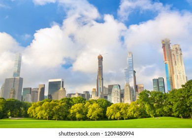 Growing skyscrapers around Central Park in Manhattan, New York