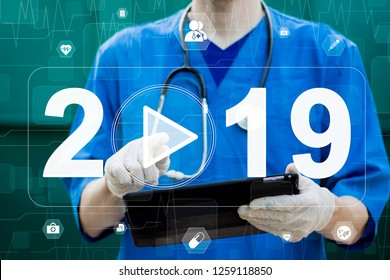 Growth in 2019 year concept. Doctor plan and increase of positive indicators in his healthcare and medical.