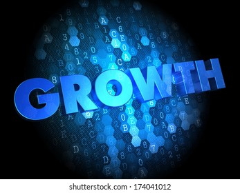 Growth - Blue Color Text on Digital Background.