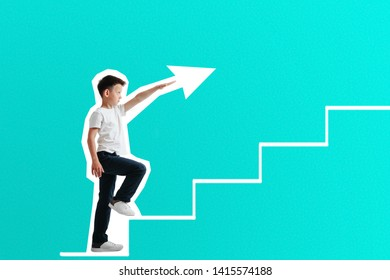 growth business concept. young businessman climbing the career ladder