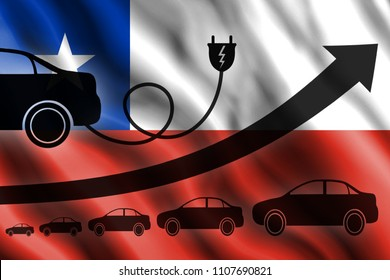 Growth chart. Up arrow, car silhouettes and a car charger in the background of the flag Chile