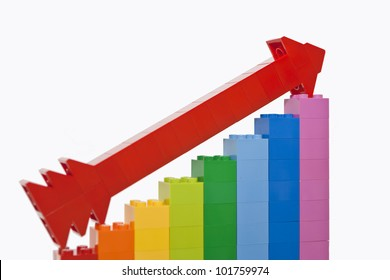 Growth chart from color toy blocks with red arrow