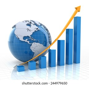 Growth chart with globe, 3d render, white background