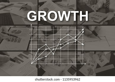 Growth concept illustrated by pictures on background