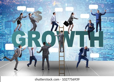 Growth concept with many businessmen