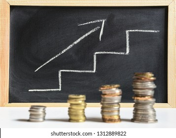 Growth concept: steps and arrow ascending to the right with coins on the foreground