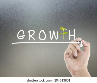 Growth concept with text and young plant