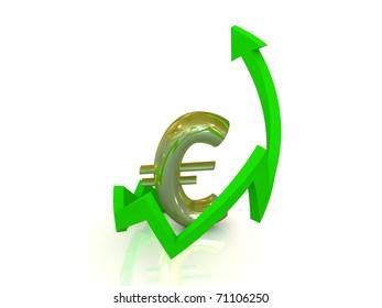 Growth of euro, white background