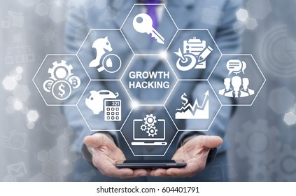Growth Hacking Concept. Growing increase ways how business technology company strategy to improve user and revenue number. Man offers smartphone with growth hacking word icon on virtual screen.
