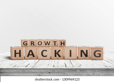 Growth hacking sign on a wooden desk with a grey wall in the background