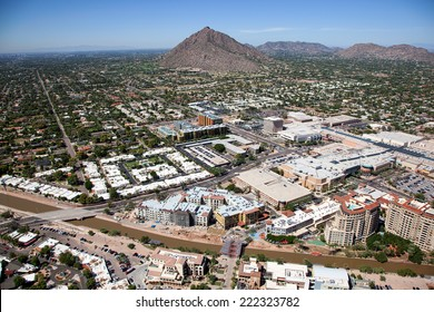Growth in old town Scottsdale, Arizona as viewed from above