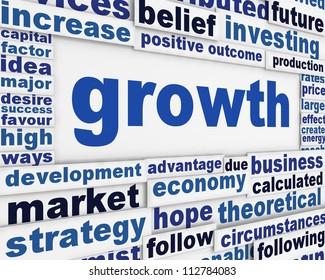 Growth poster design. Slogan growth message background