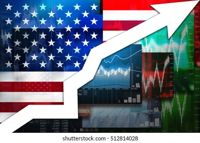 Growth usa. Chart economical with the flag.