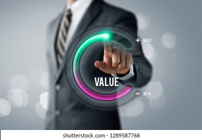 Growth value, increase value, value added or business growth concept. Businessman is pulling up circle progress bar with the word VALUE on bright tone background.