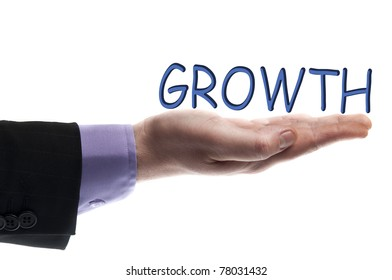 Growth word in male hand