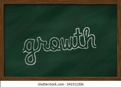 growth word written on chalkboard