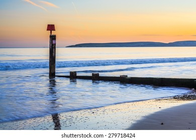 Groyne on Bournemouth Beach at Sunset Dorset England UK Europe