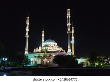 Grozny, Chechen Republic, Russia - June 01, 2019: Mosque Heart of Chechnya named after Akhmat Kadyrov, built in 2008 in the city center. A popular attraction of the night