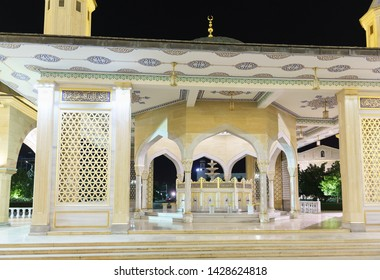 Grozny, Chechen Republic, Russia - June 01, 2019 for a small ritual ablution - Tahara. The Mosque Heart Of Chechnya. A popular attraction of the night. Nobody
