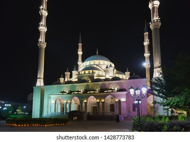 Grozny, Chechen Republic, Russia - June 01, 2019: the heart of Chechnya Mosque is one of the largest mosques in the world. A popular attraction of the night