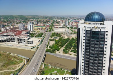 Grozny, Chechen Republic, Russia - June 02, 2019: View of the mosque in the Heart of Chechnya and Putin Avenue from the observation deck of the Grozny city high-rise complex