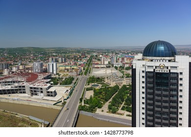 Grozny, Chechen Republic, Russia - June 02, 2019: top View of the main mosque in the Heart of Chechnya, Grozny city hotel and other facilities in the city center